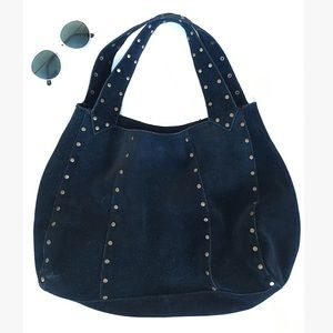 BLACK GENUINE LEATHER PURSE WITH GOLD STUDS